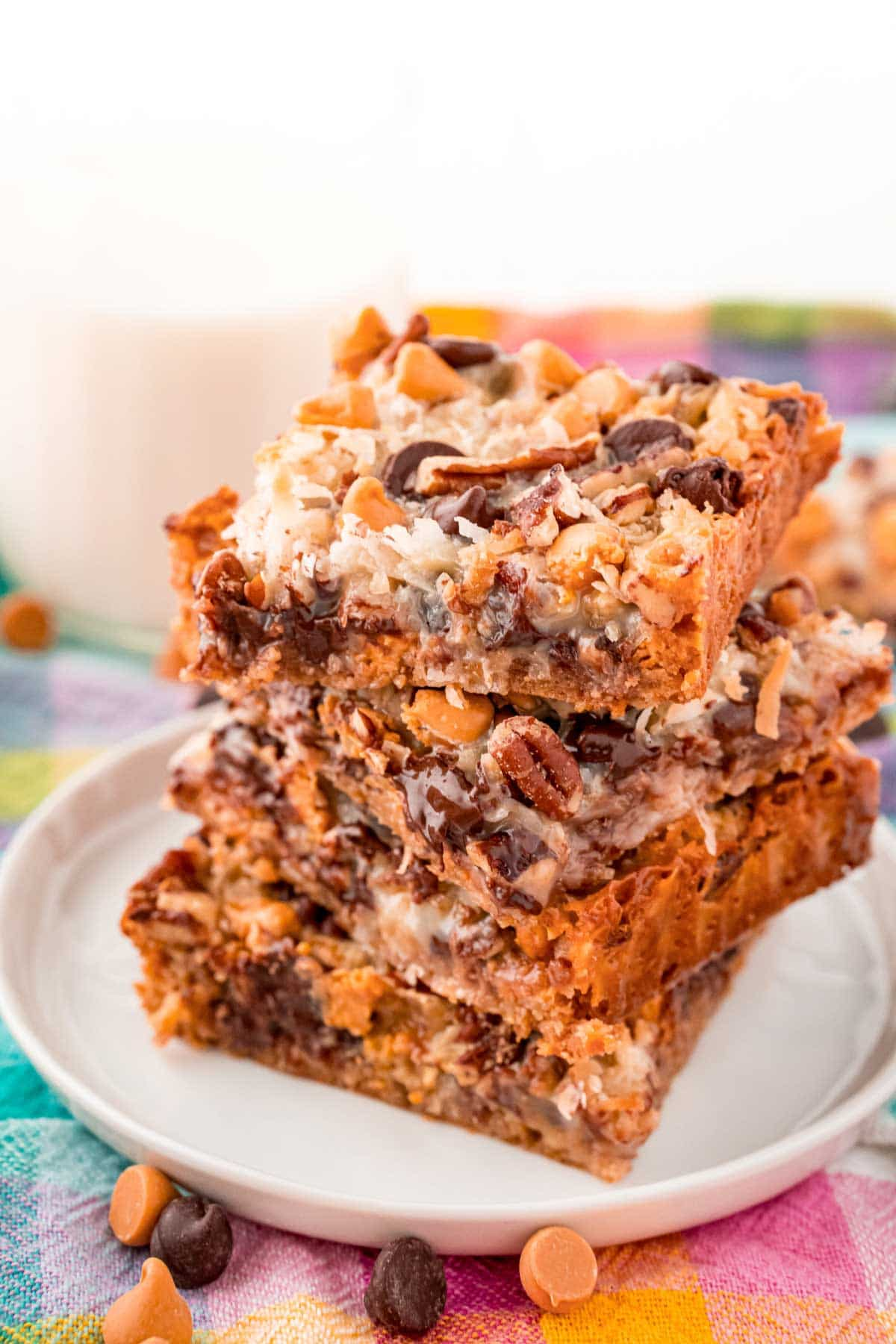 Three 7-layer bars stacked on top of each other