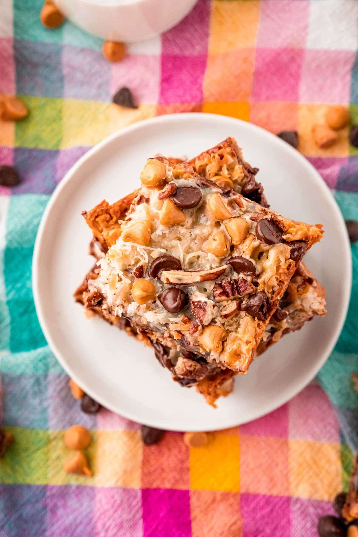Top down photo of a stack of 7 layer bars