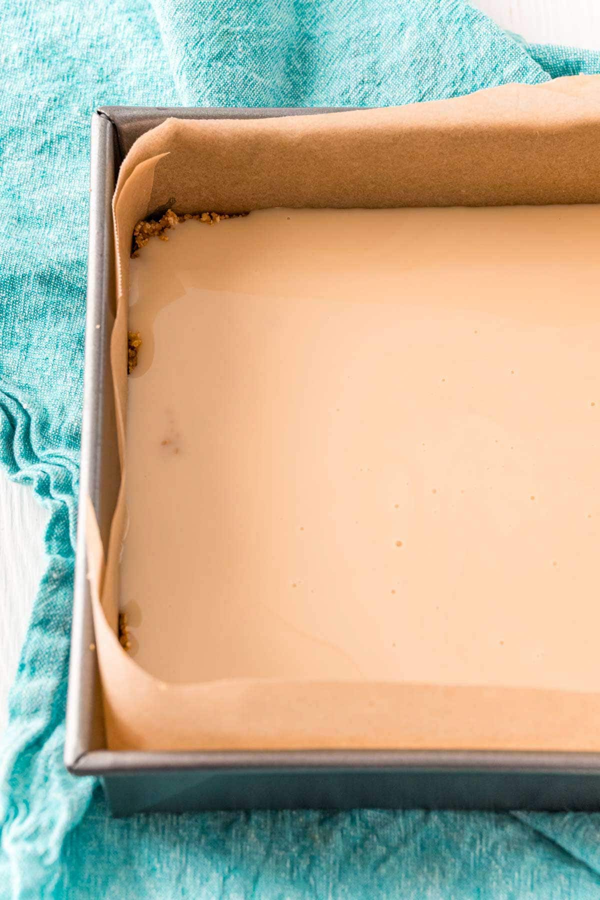 Sweetened condensed milk in a baking dish