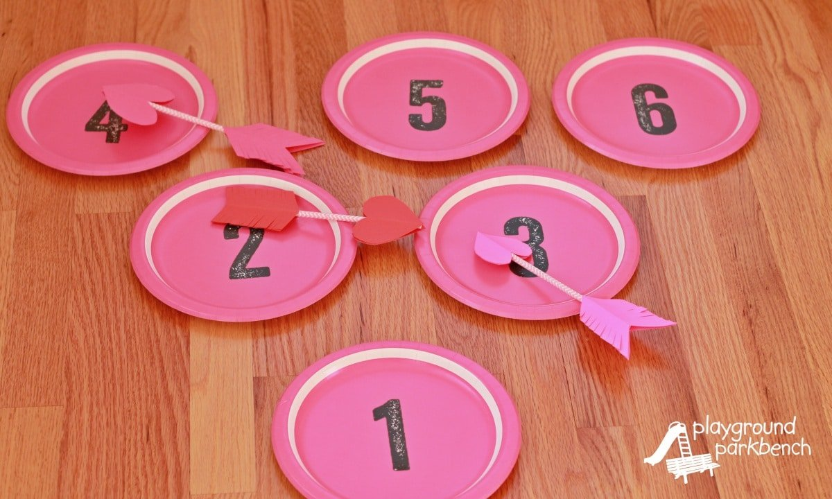 Plates with numbers and paper arrows