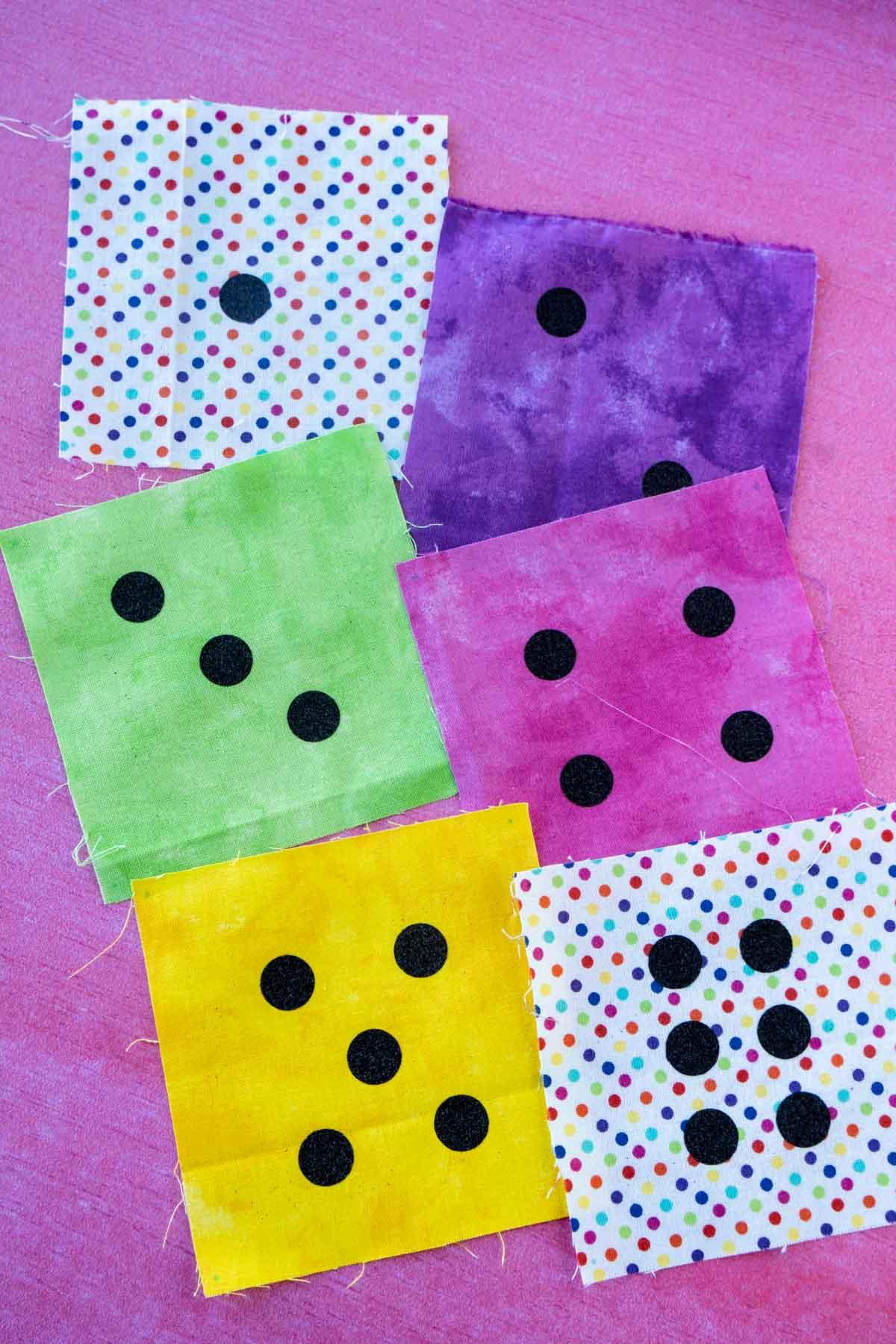 Fabric with DIY dice designs on them