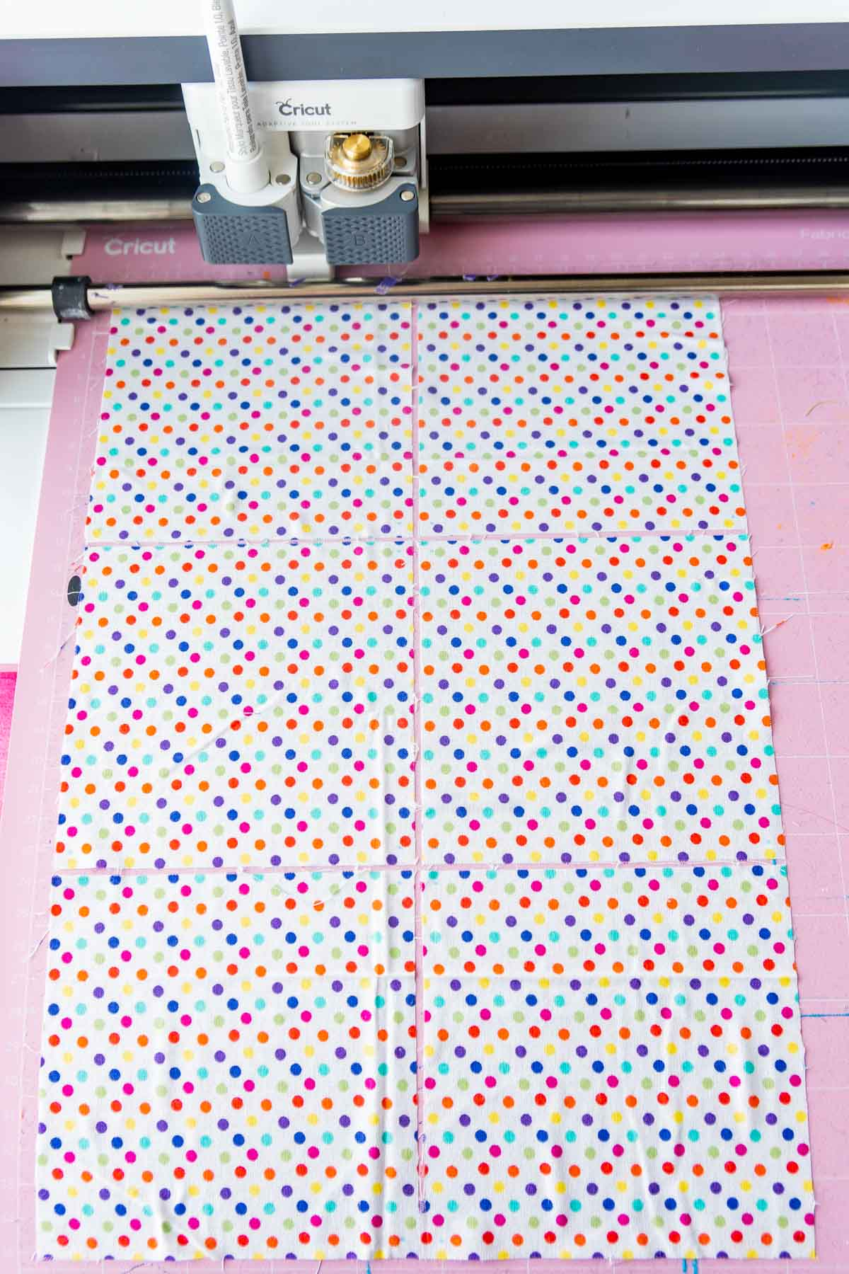 Squares of fabric with a Cricut Maker