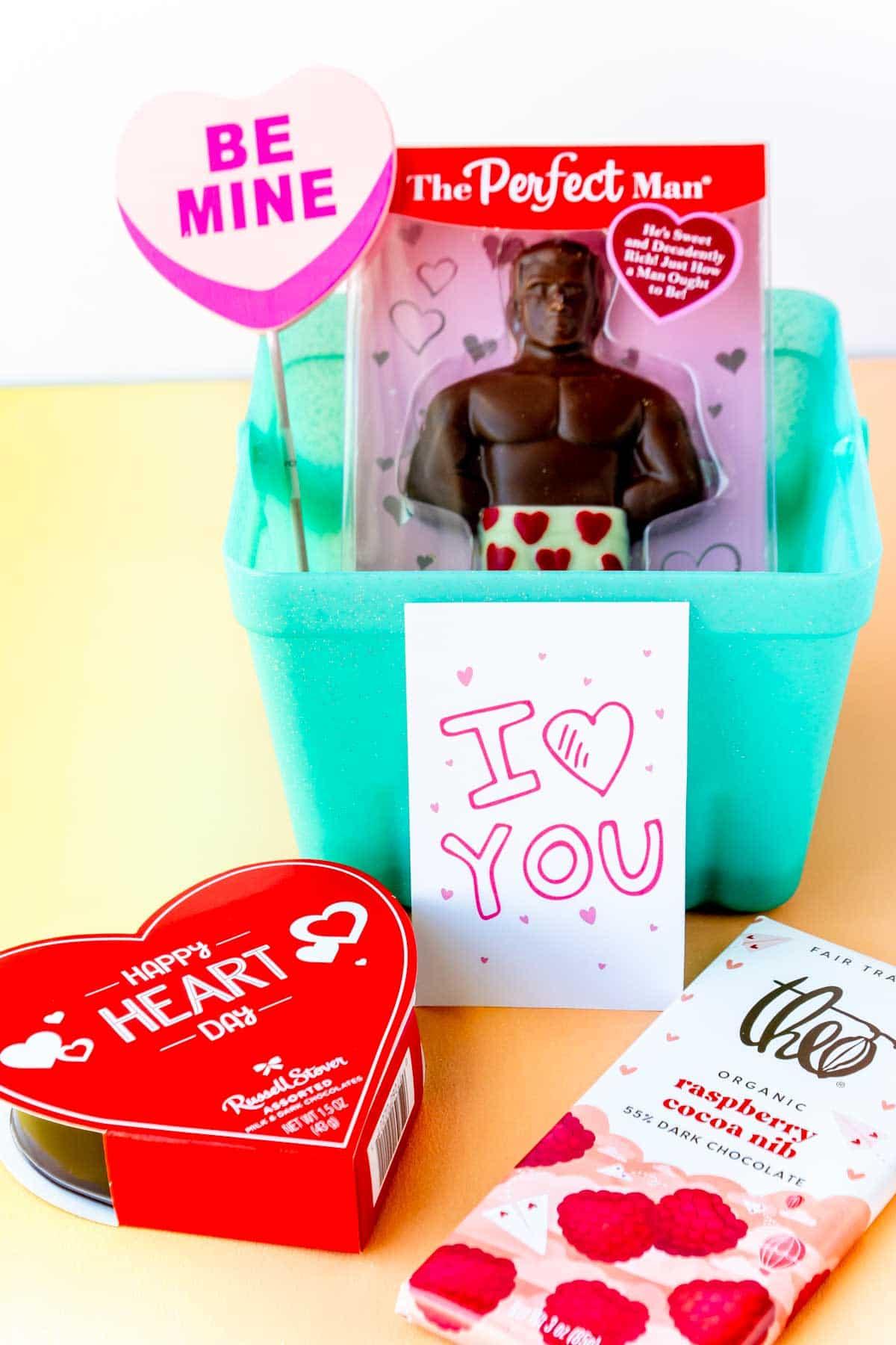 Valentine's Day gift basket for him with a perfect man inside