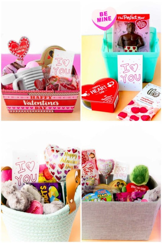 Four Valentines Day basket ideas in a collage