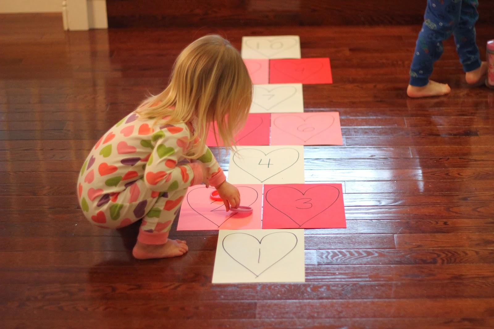 Heart hopscotch for kids