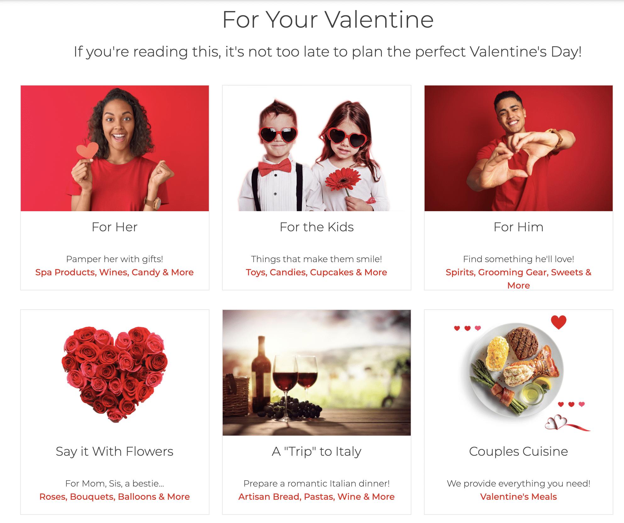 Hy-Vee Valentine's Day landing page