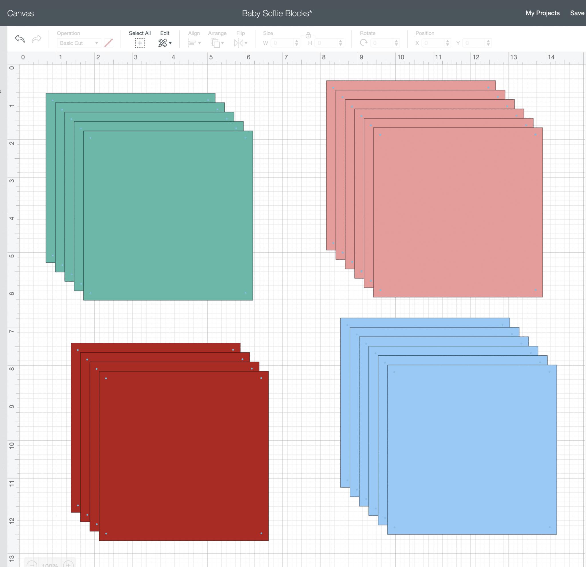 colored squares on a Cricut Design Space screenshot