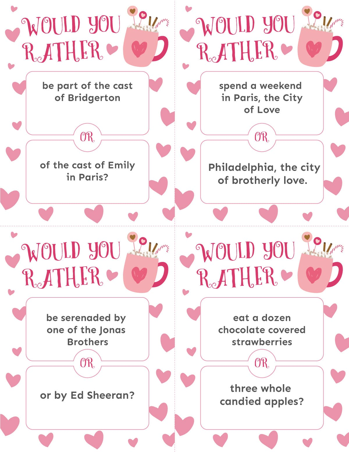 Valentine's Day would you rather printable