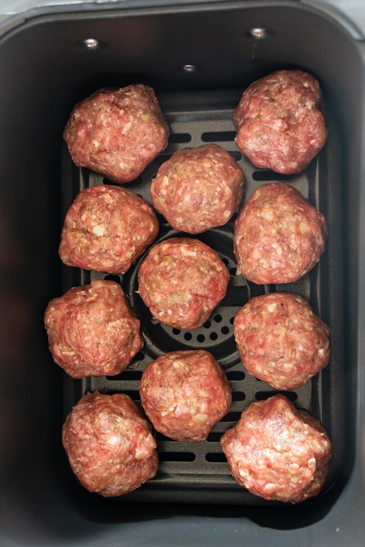 cheese stuffed meatballs in an air fryer