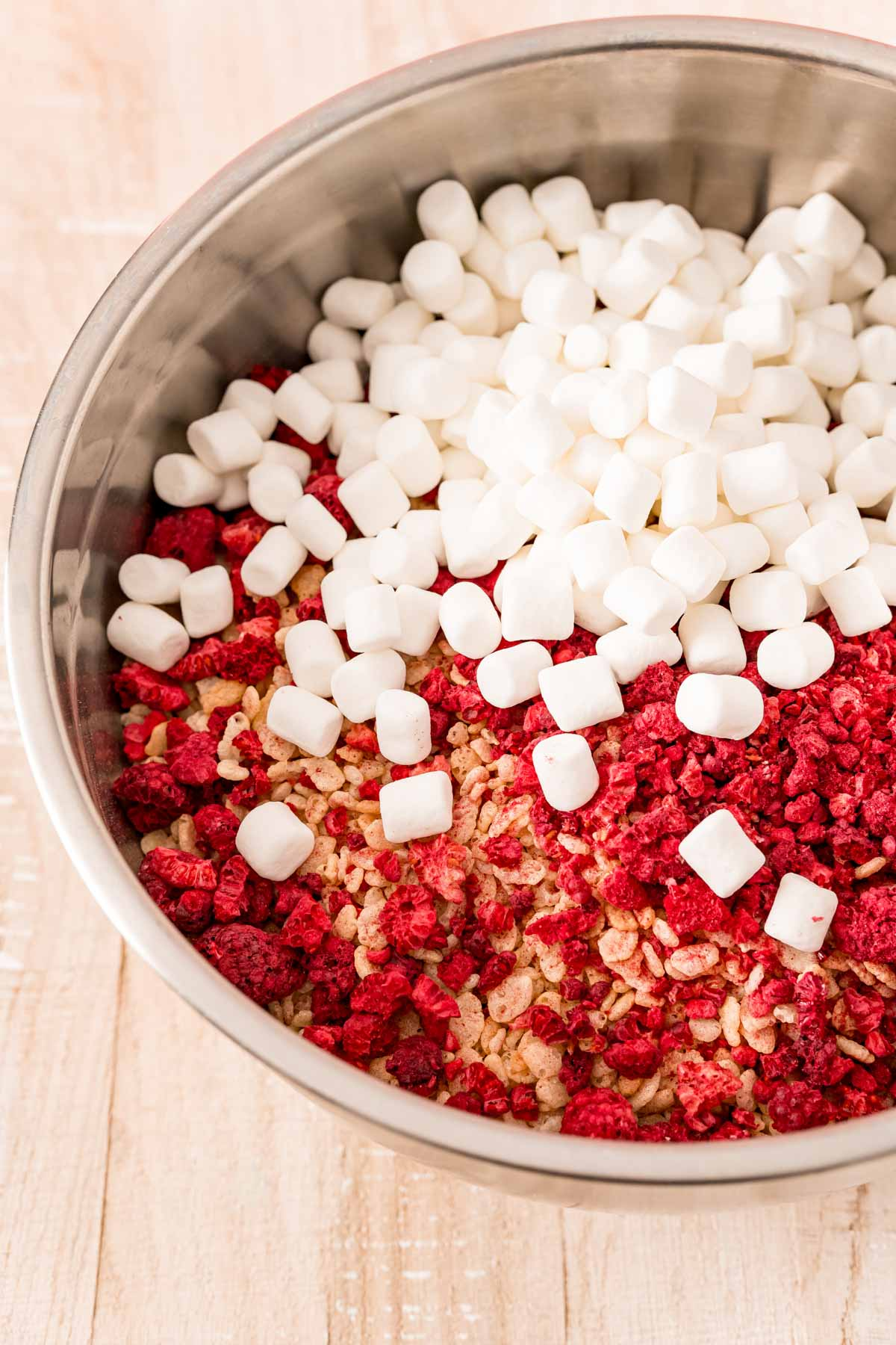 Pot with rice krispies, raspberries, and marshmallows
