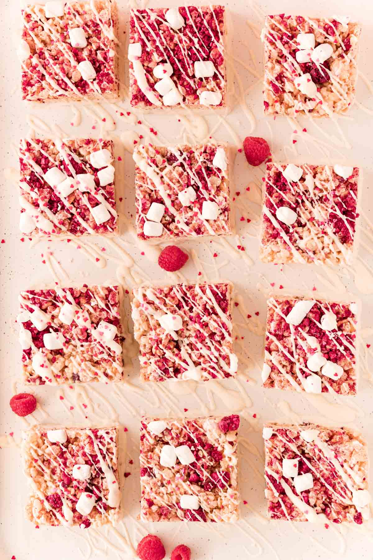 Valentines rice krispie treats on a piece of parchment paper