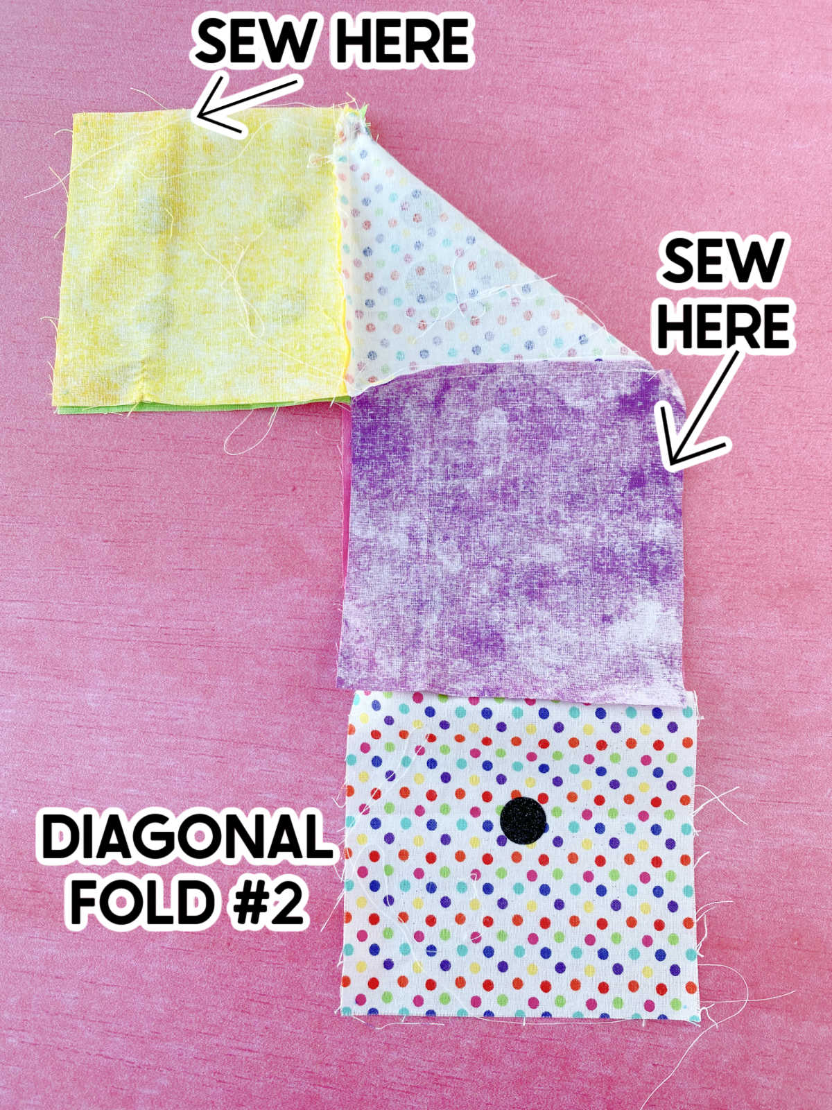 diagram showing where to sew a DIY dice