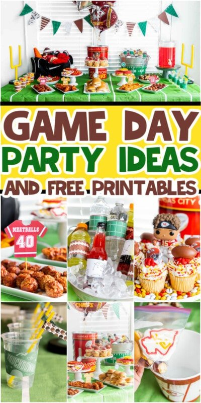 Game day party ideas collage