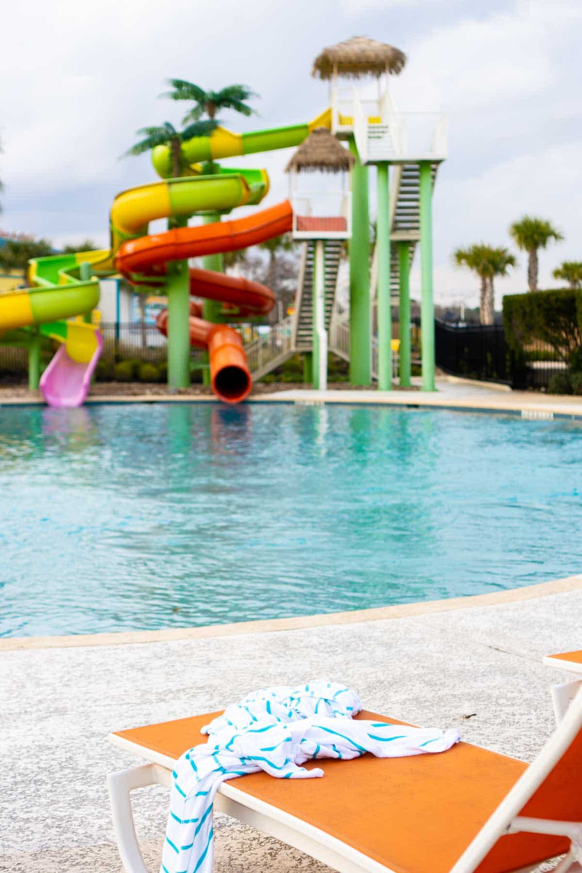 Water slides and a pool at Margaritaville Lake Conroe