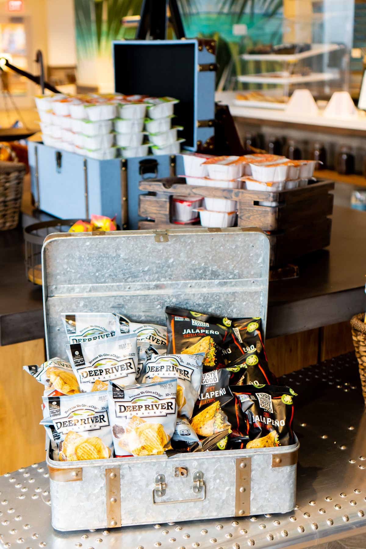 Chest with snacks at Joe Merchants