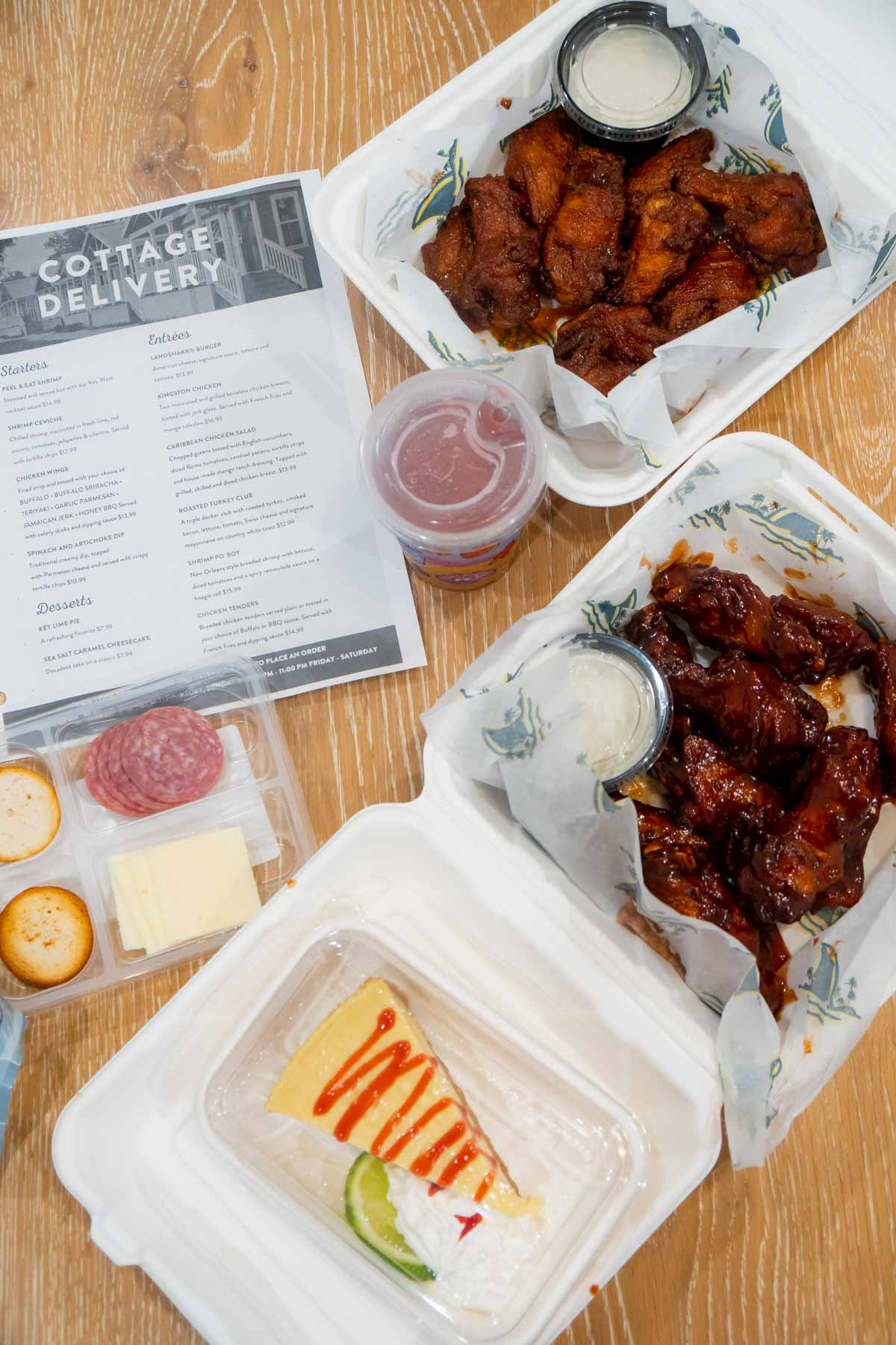 Cottage delivery menu and wings for Margaritaville Lake Conroe