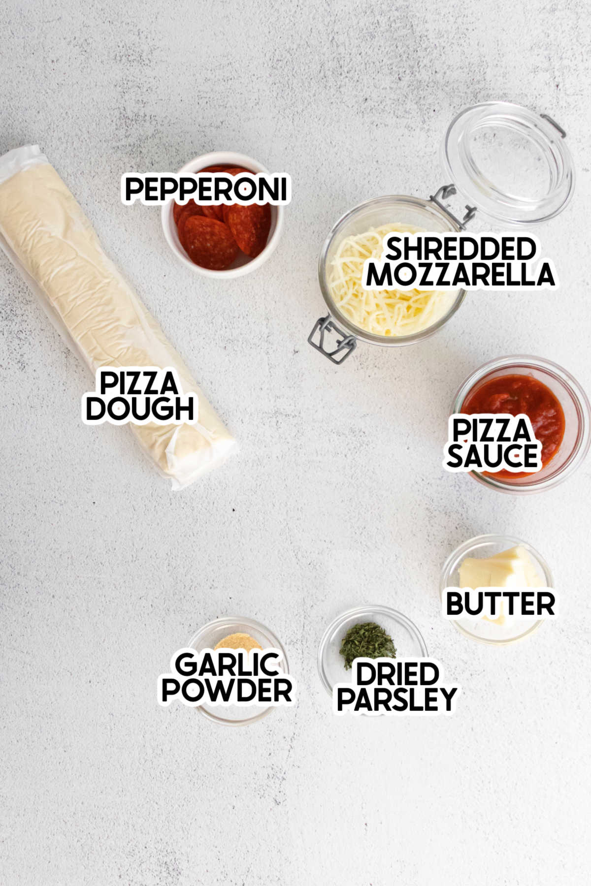ingredients for pizza twists with labels