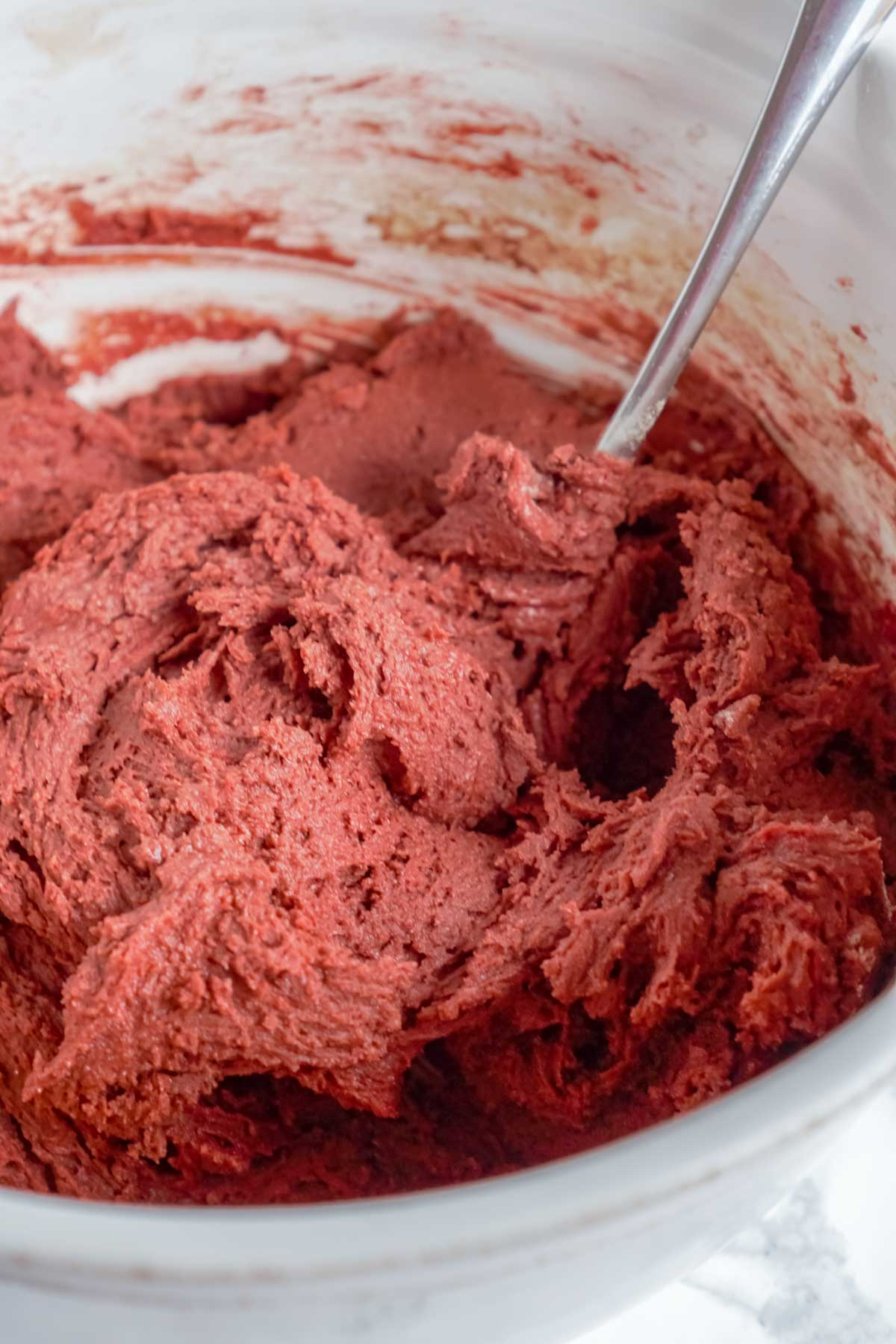 Red velvet cookie dough in a bowl