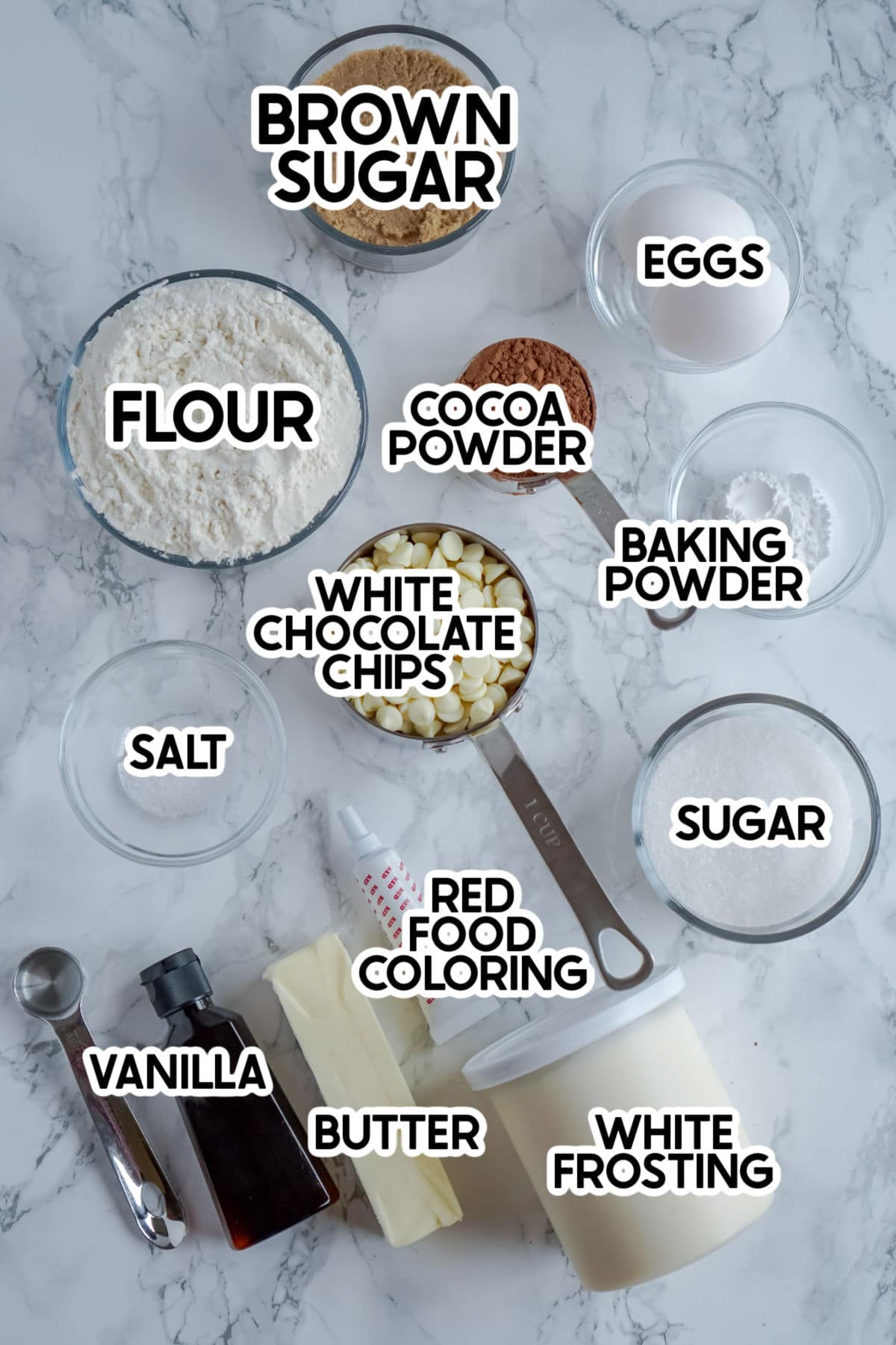 ingredients to make red velvet cookies with labels
