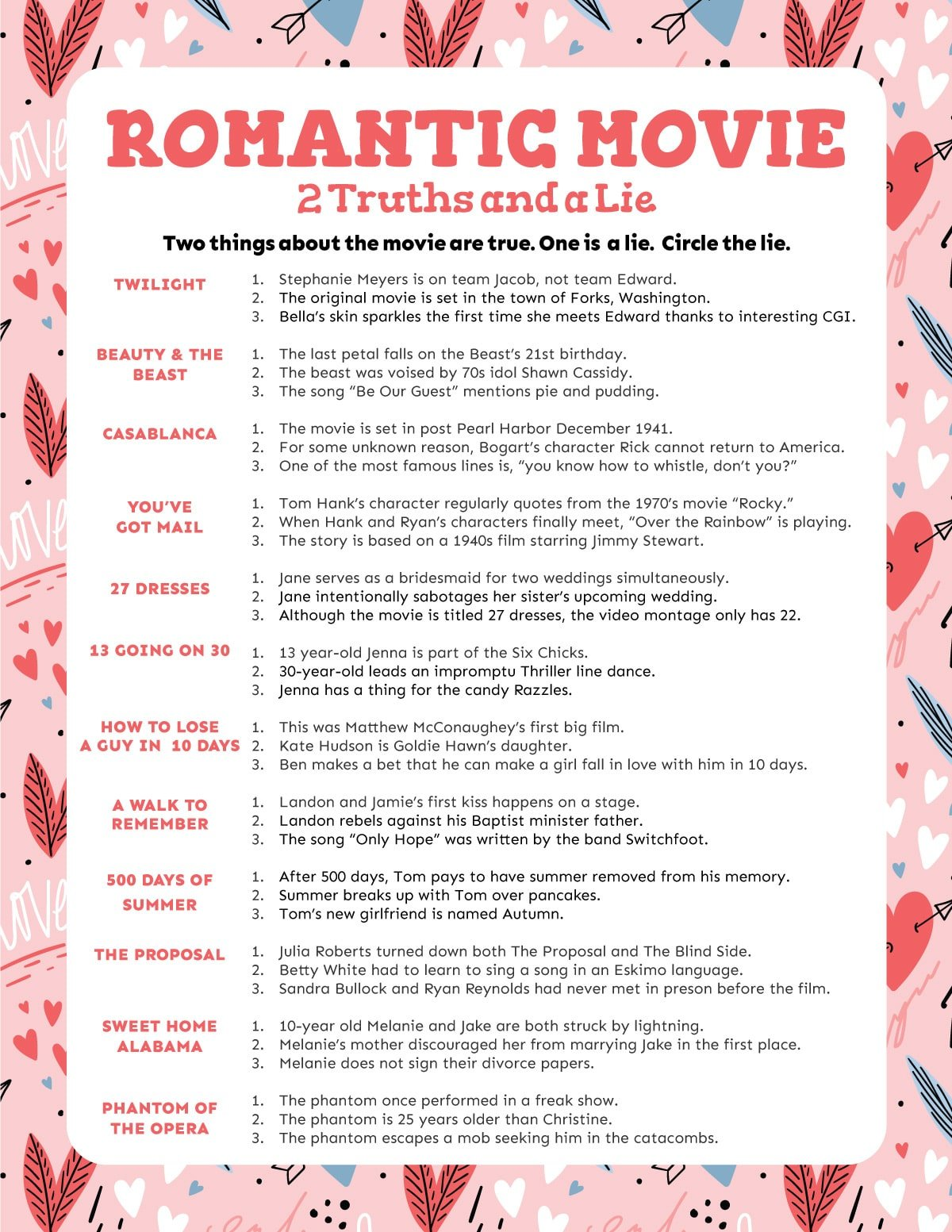 Printed out movie two truths and a lie game
