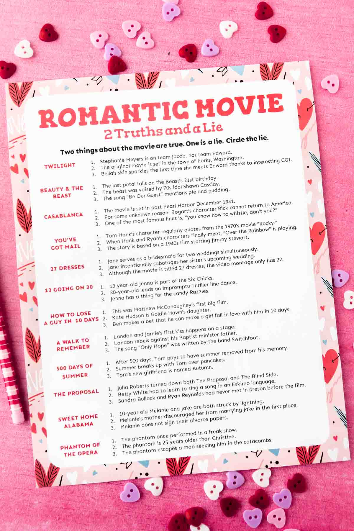 Printed out romantic two truths and a lie game