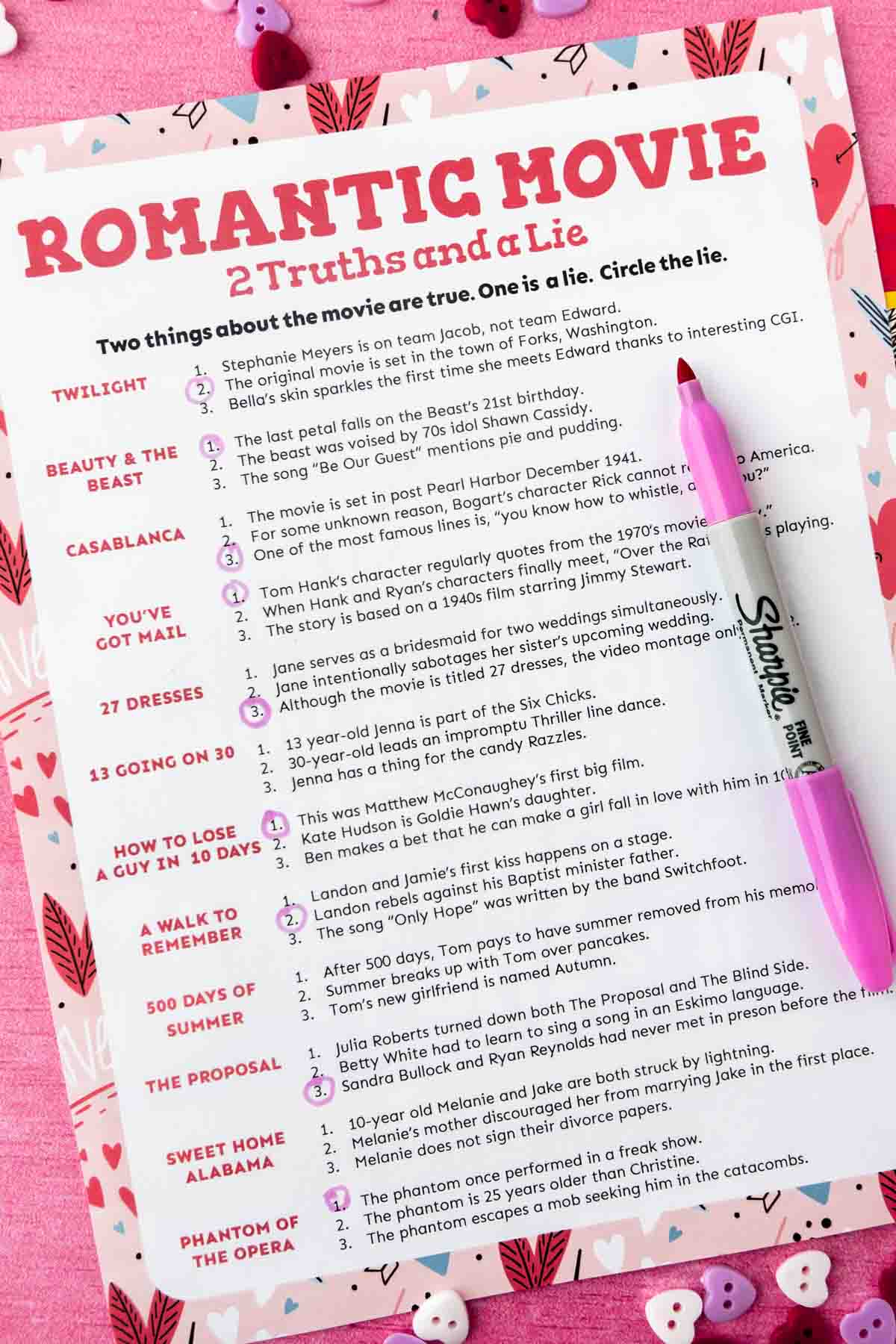 Printed out movie two truths and a lie with answers