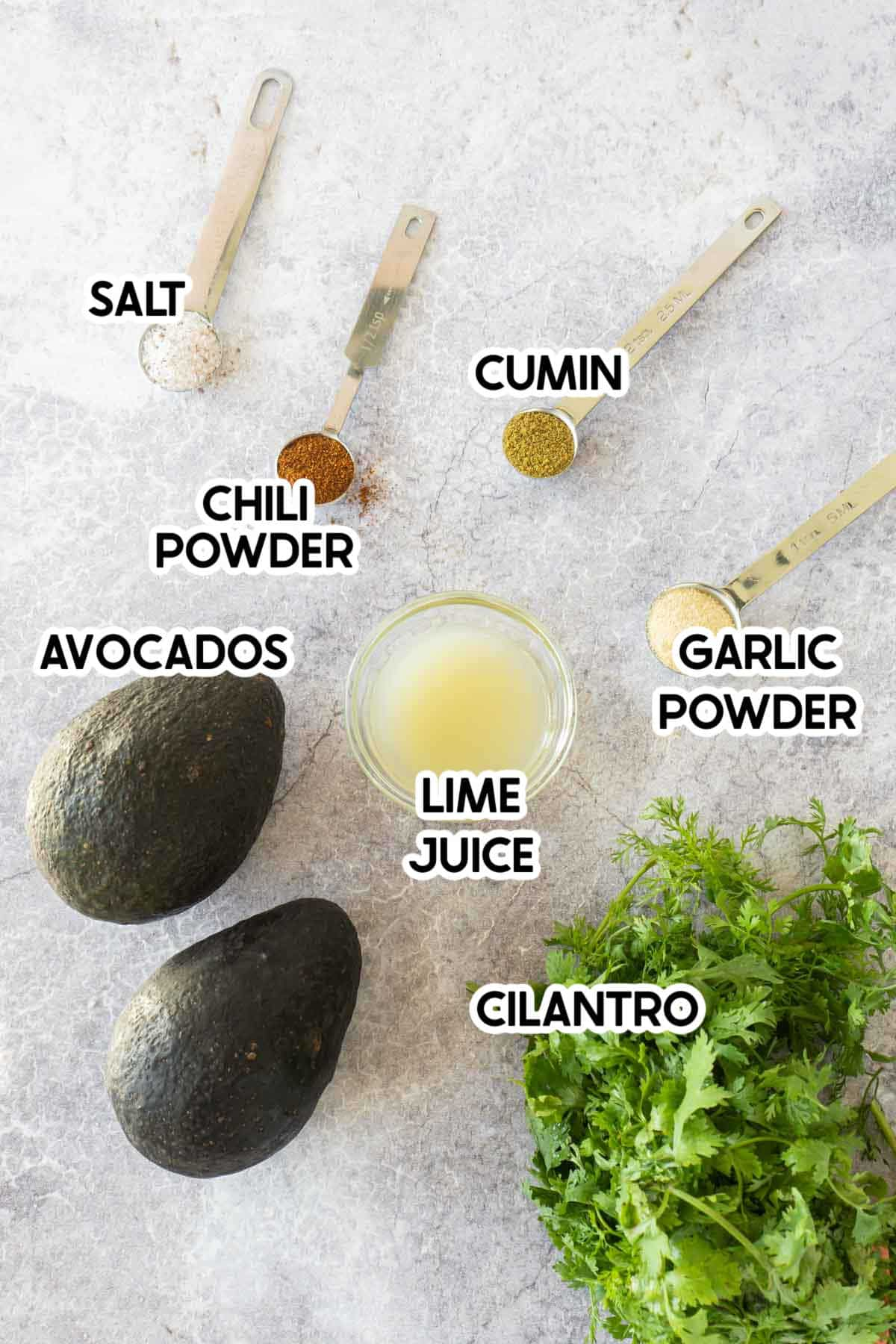 ingredients for homemade guacamole with labels