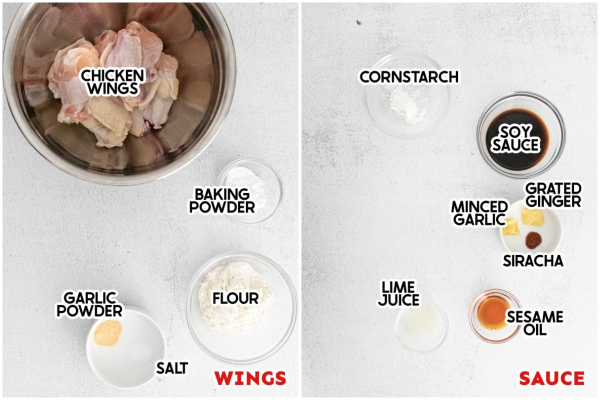 ingredients for sticky chicken wings with labels