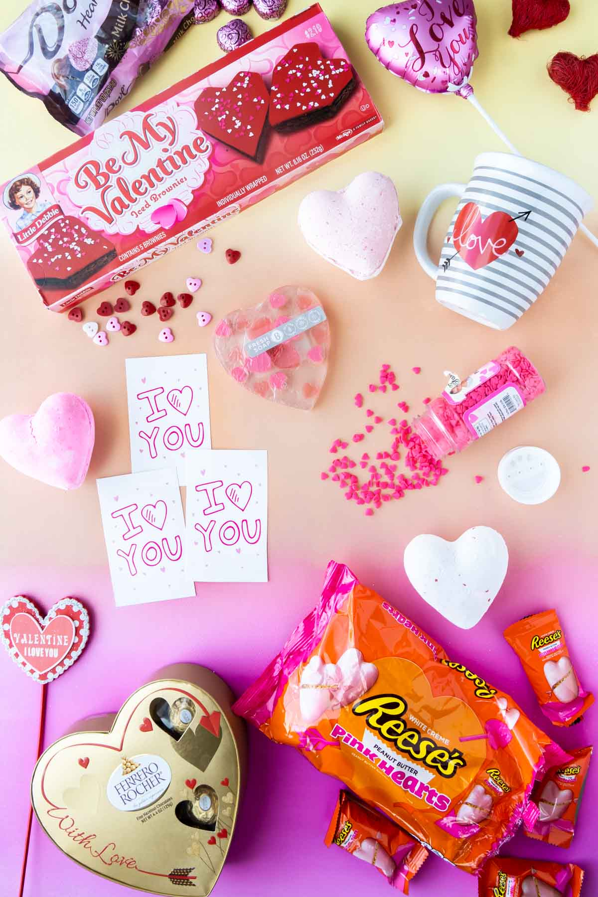 Flat lay of Valentine's Day gift items