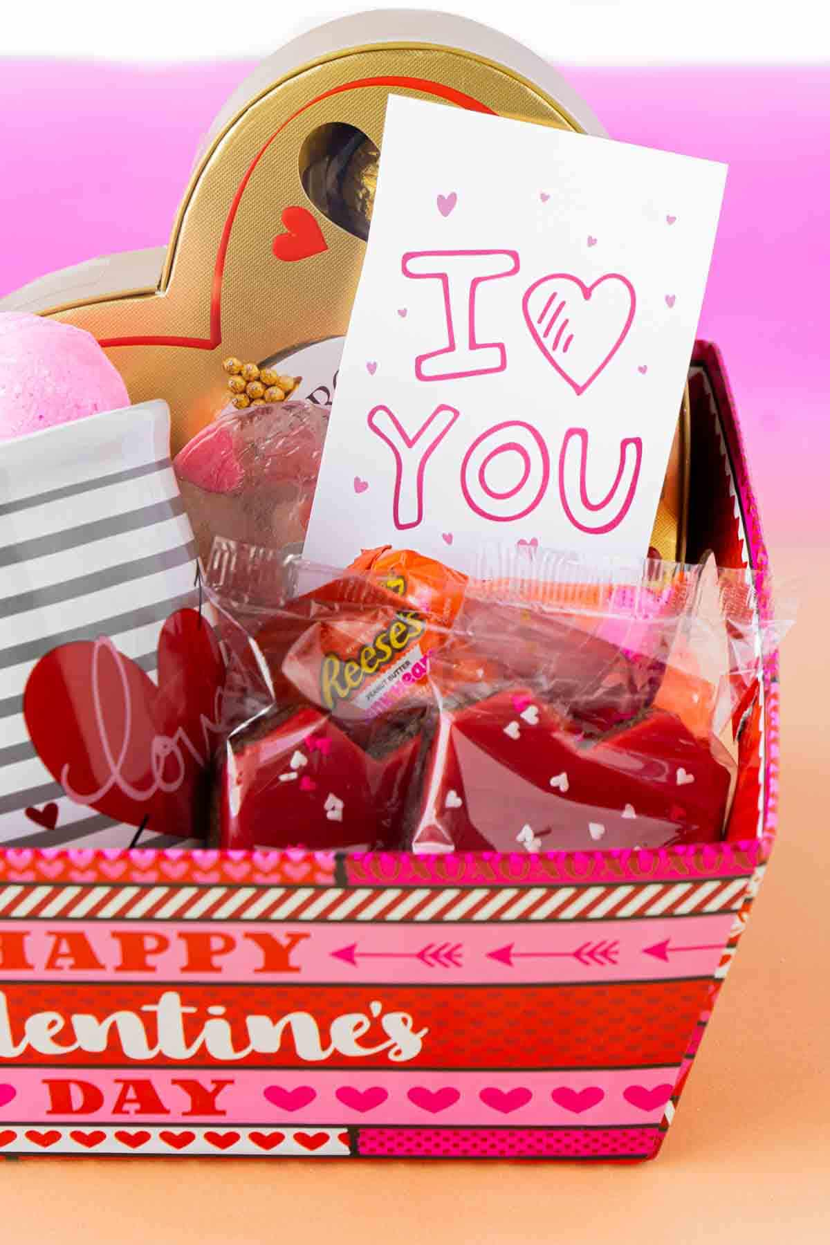 Valentines Day basket with a gift tag inside