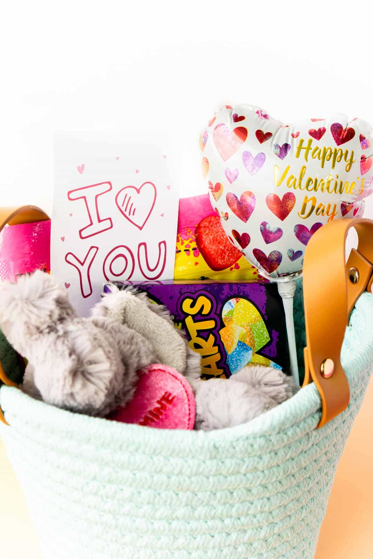 Small Valentines Day gift basket for kids
