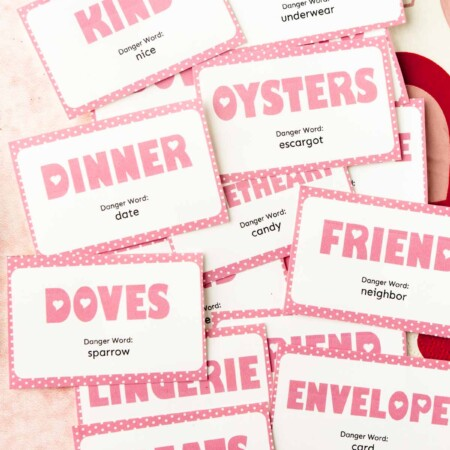 Valentine's danger word cards in a pile