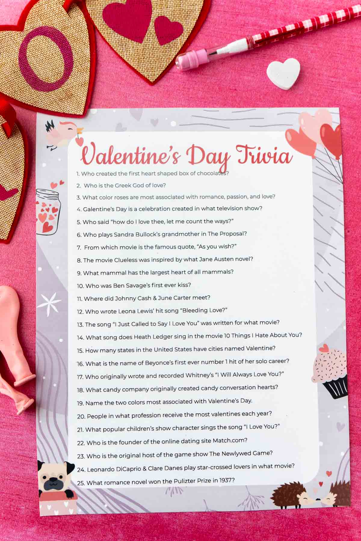 Printed out Valentines trivia game