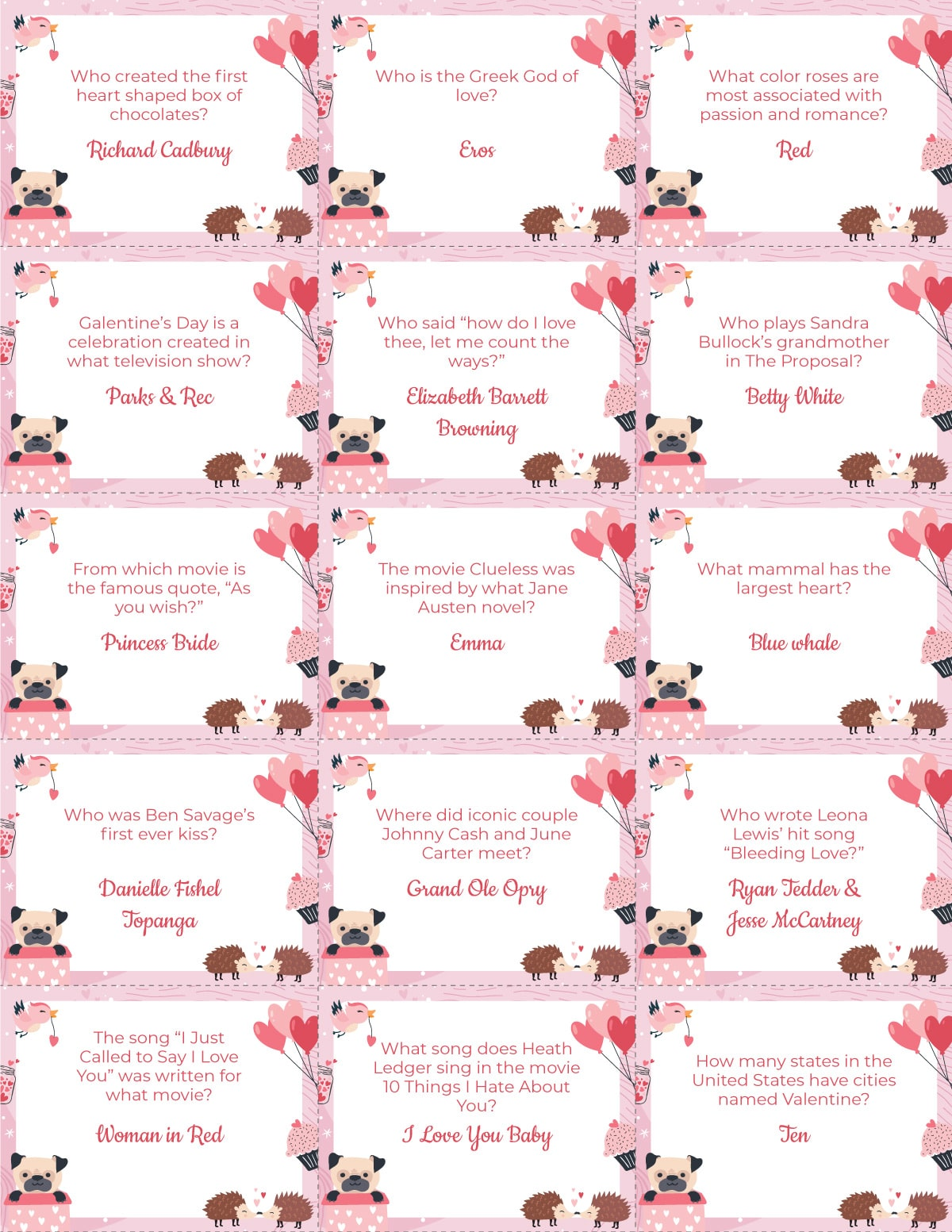 Valentines trivia question cards