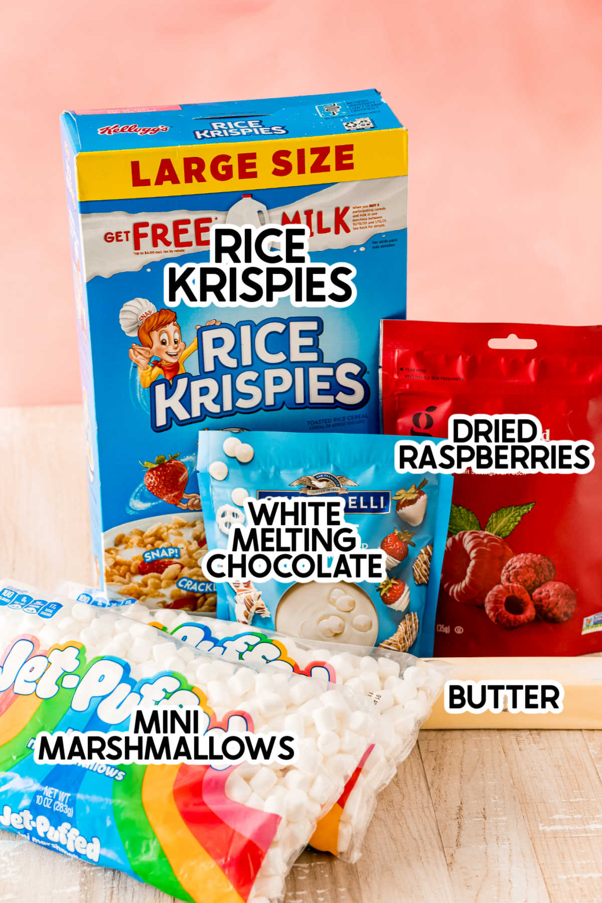 Ingredients for chocolate dipped rice krispie treats with labels