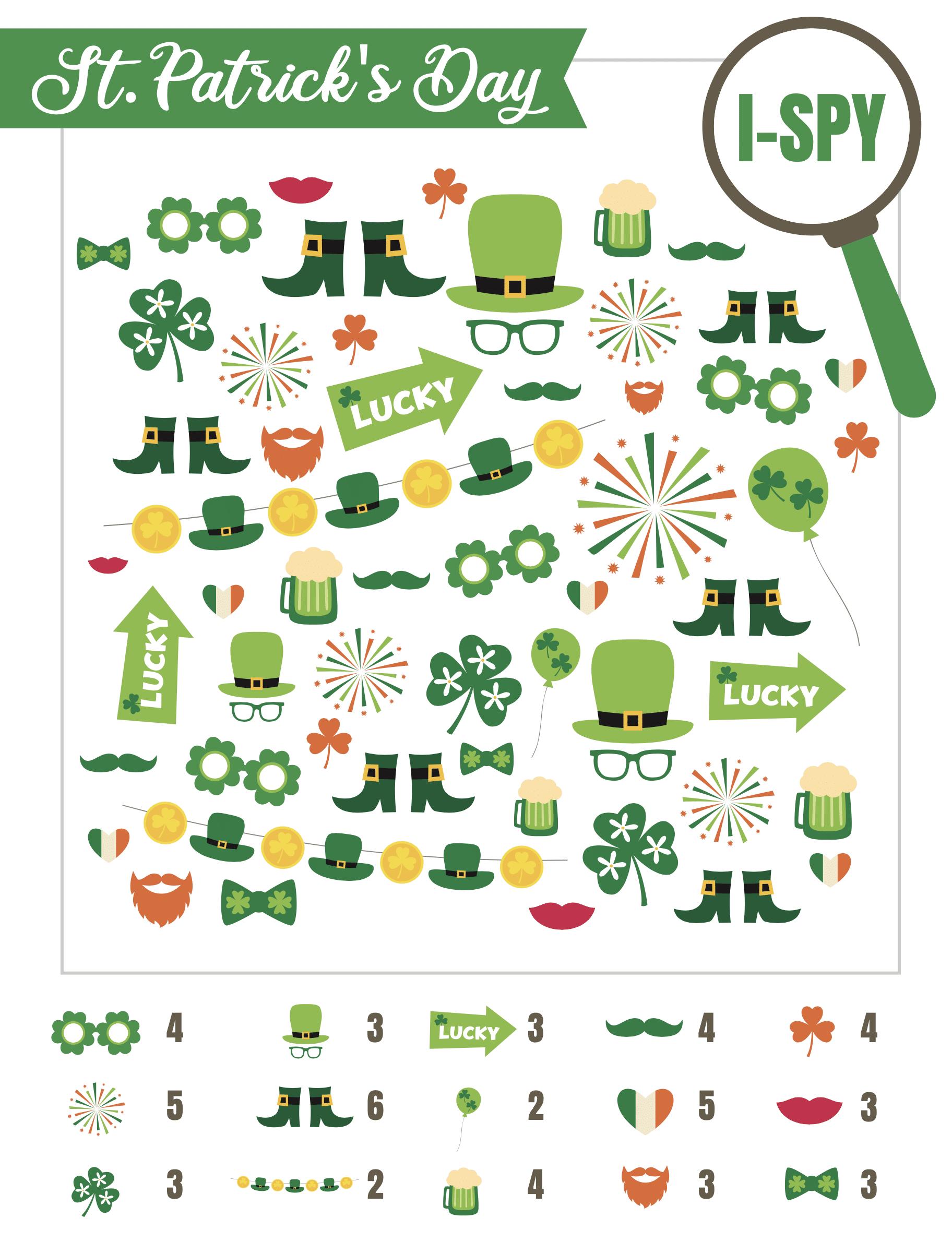 St. Patrick's Day i-spy sheet