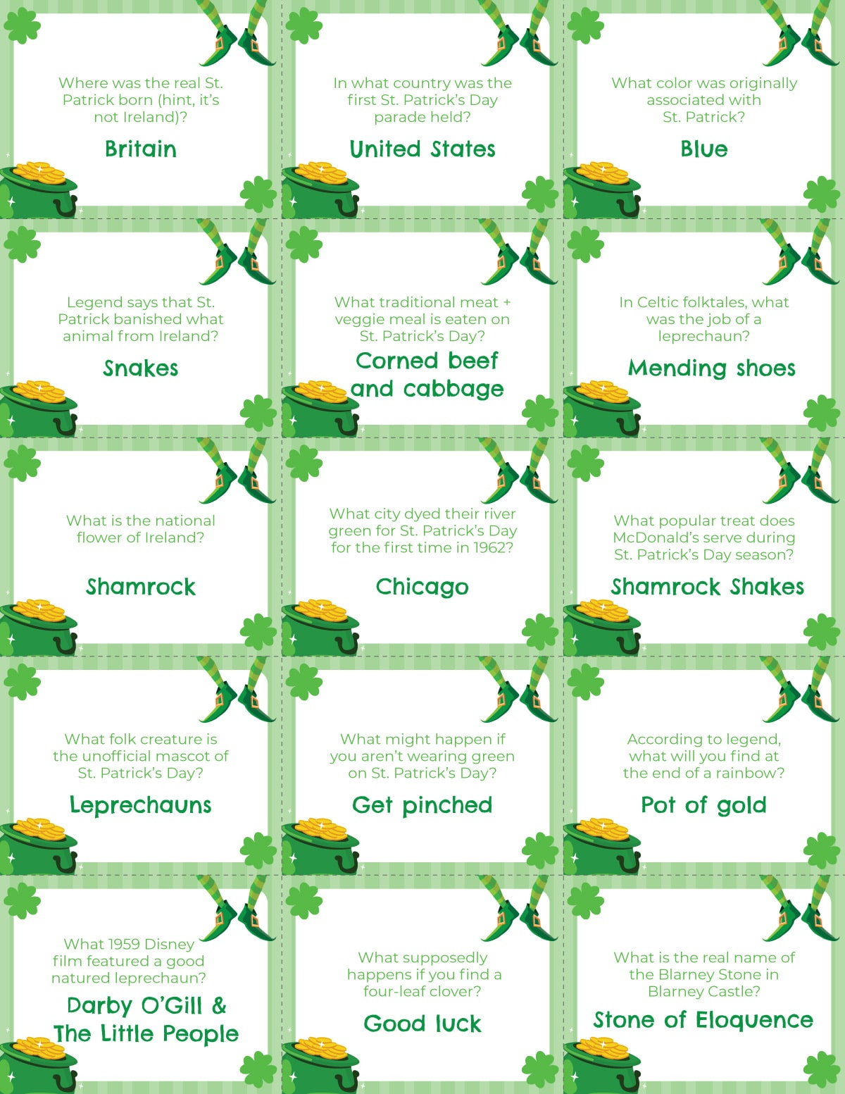 St. Patrick's Day trivia questions