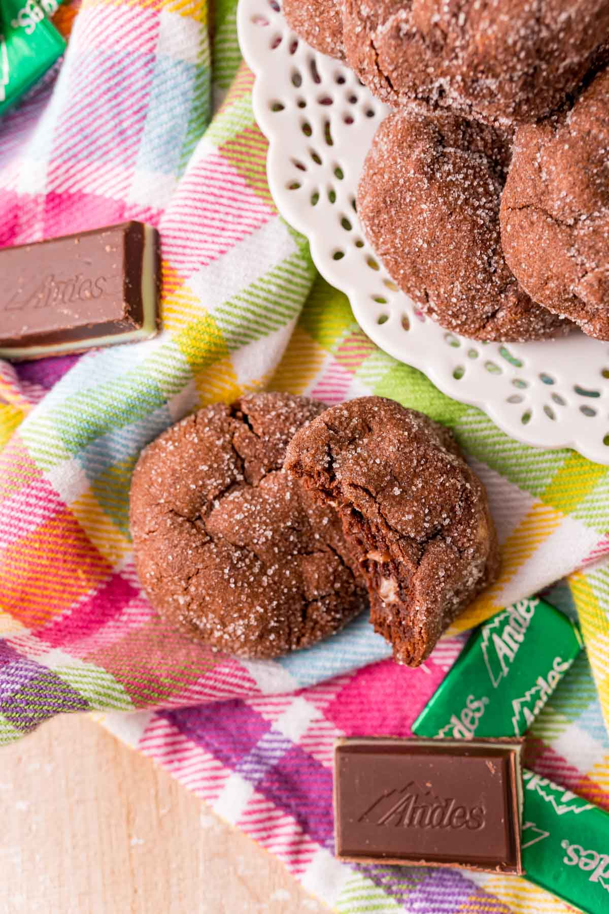Small plate of Andes Mint cookies with a colorful napkin