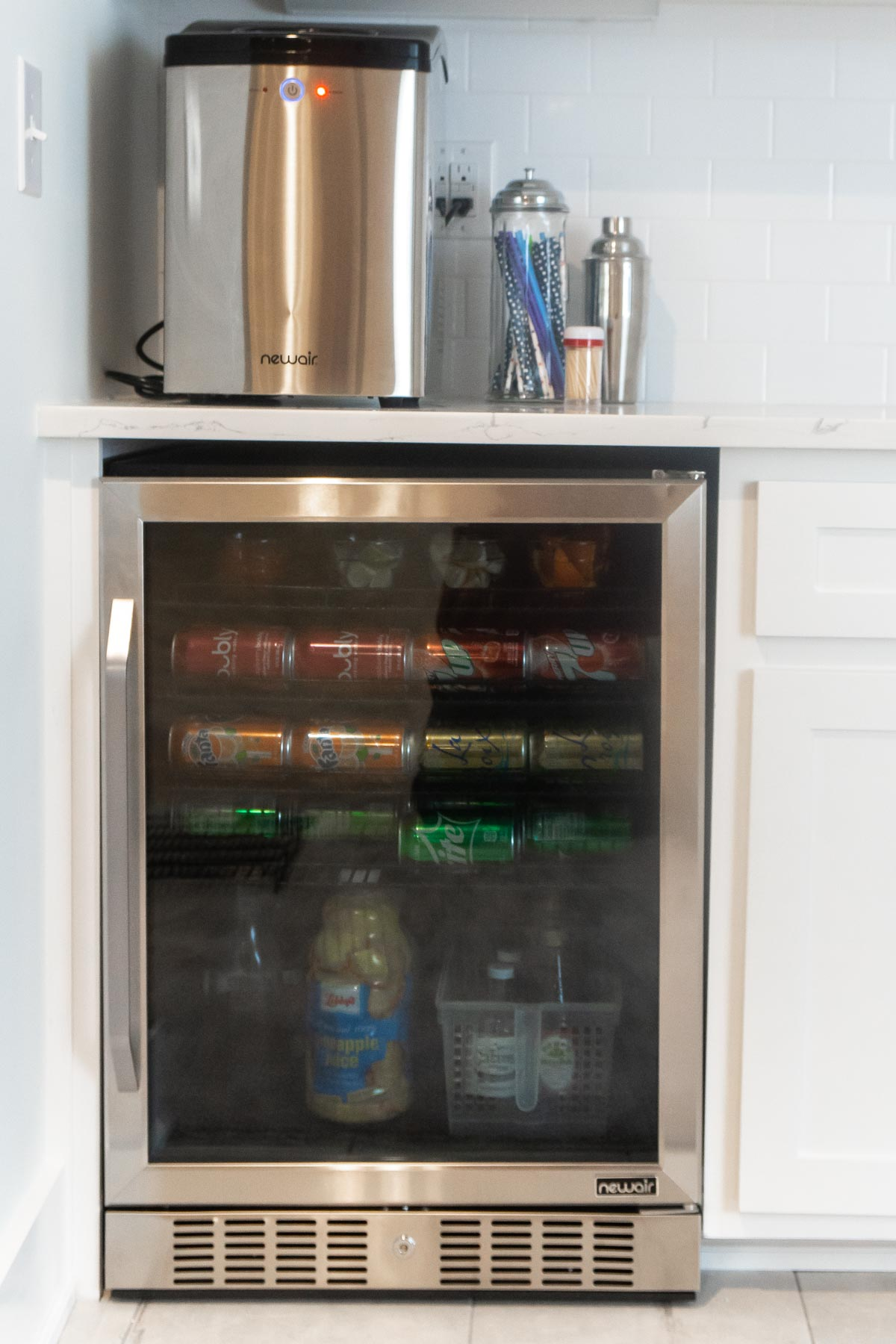 Beverage fridge in a dry bar