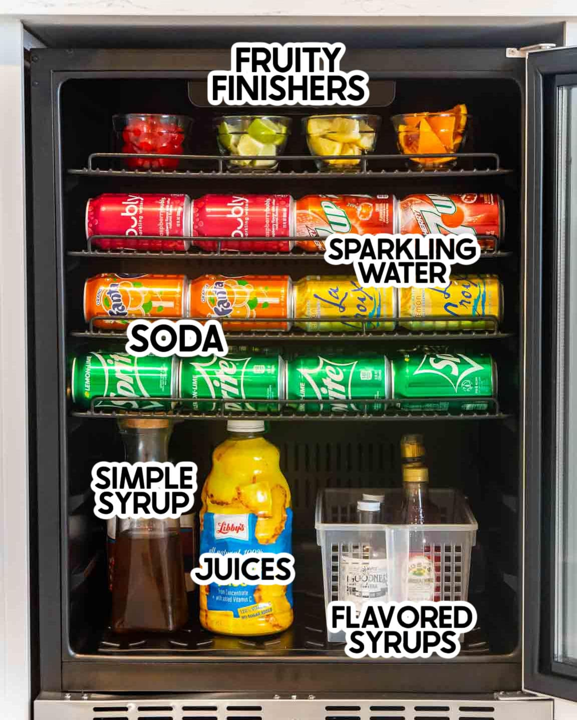 Items in a beverage fridge with labels