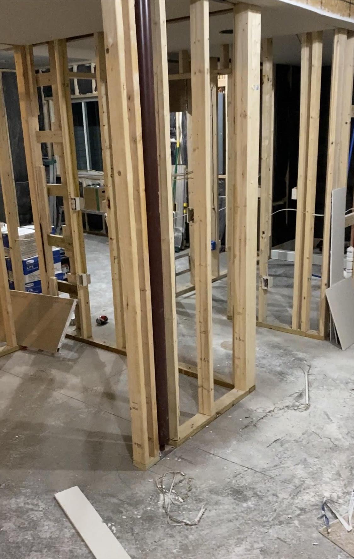 framing for a dry bar built around a pole