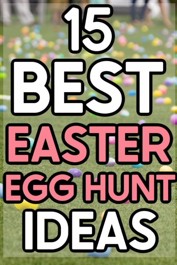Easter egg hunt setup with text overlaid