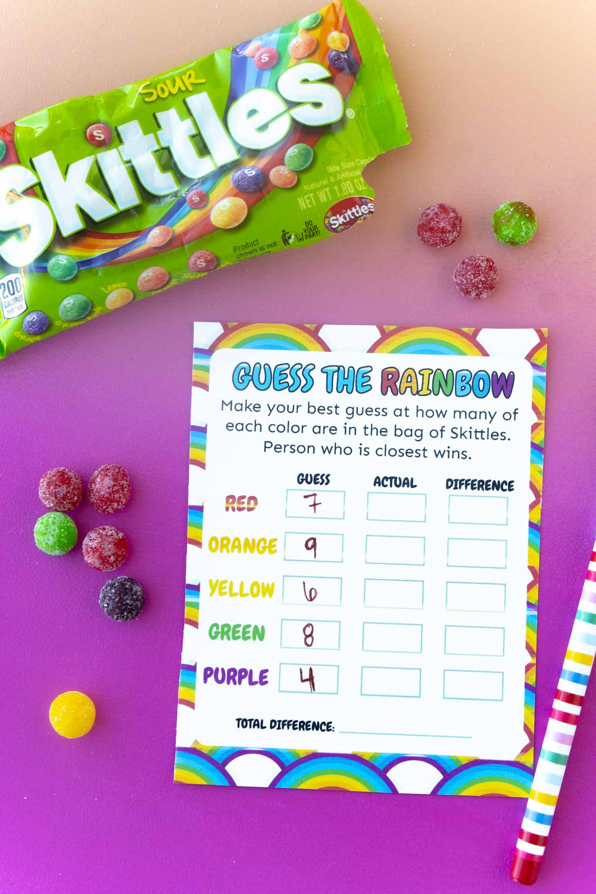 Guess the rainbow card with Skittles sorted around