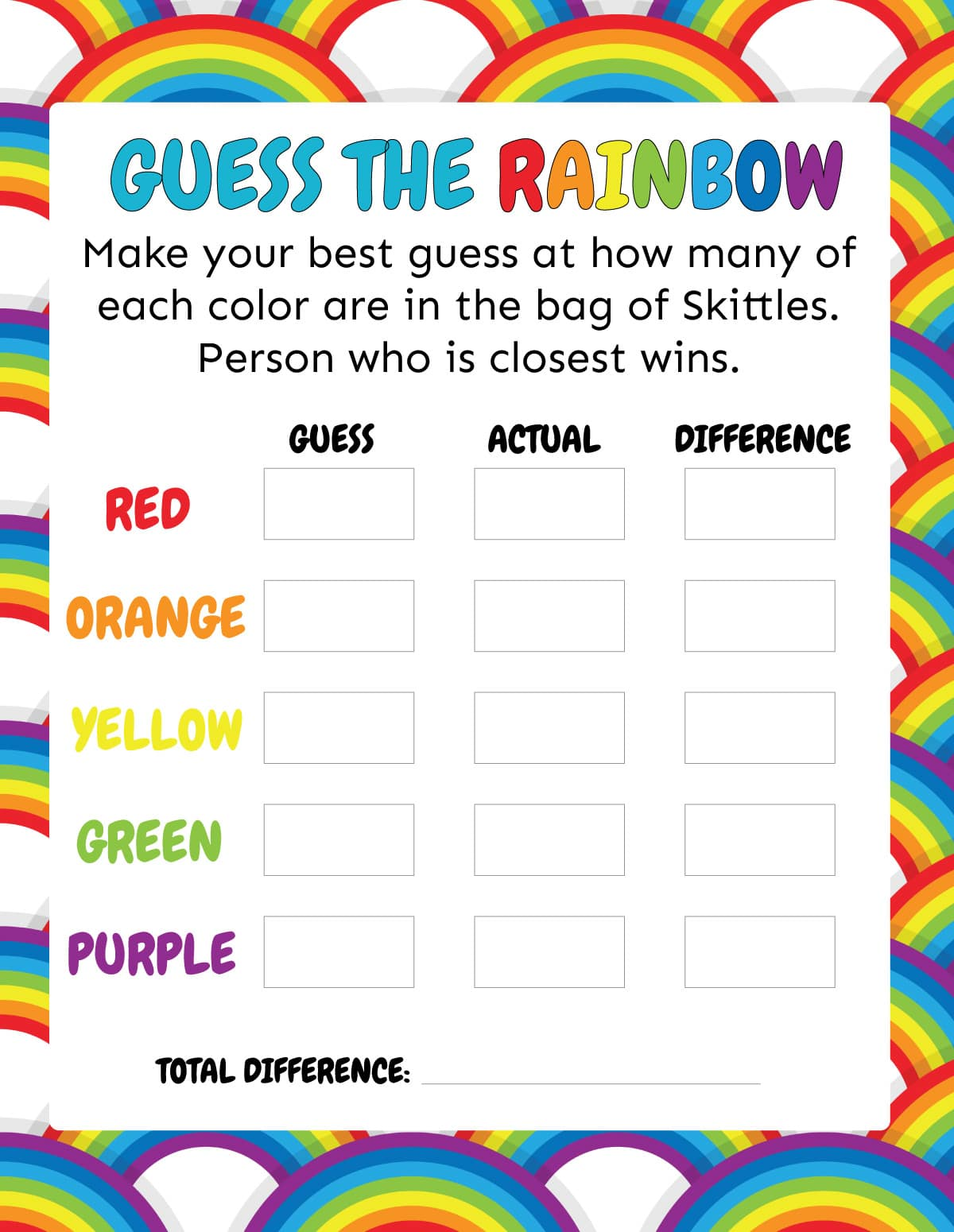 Printed out guess the rainbow game