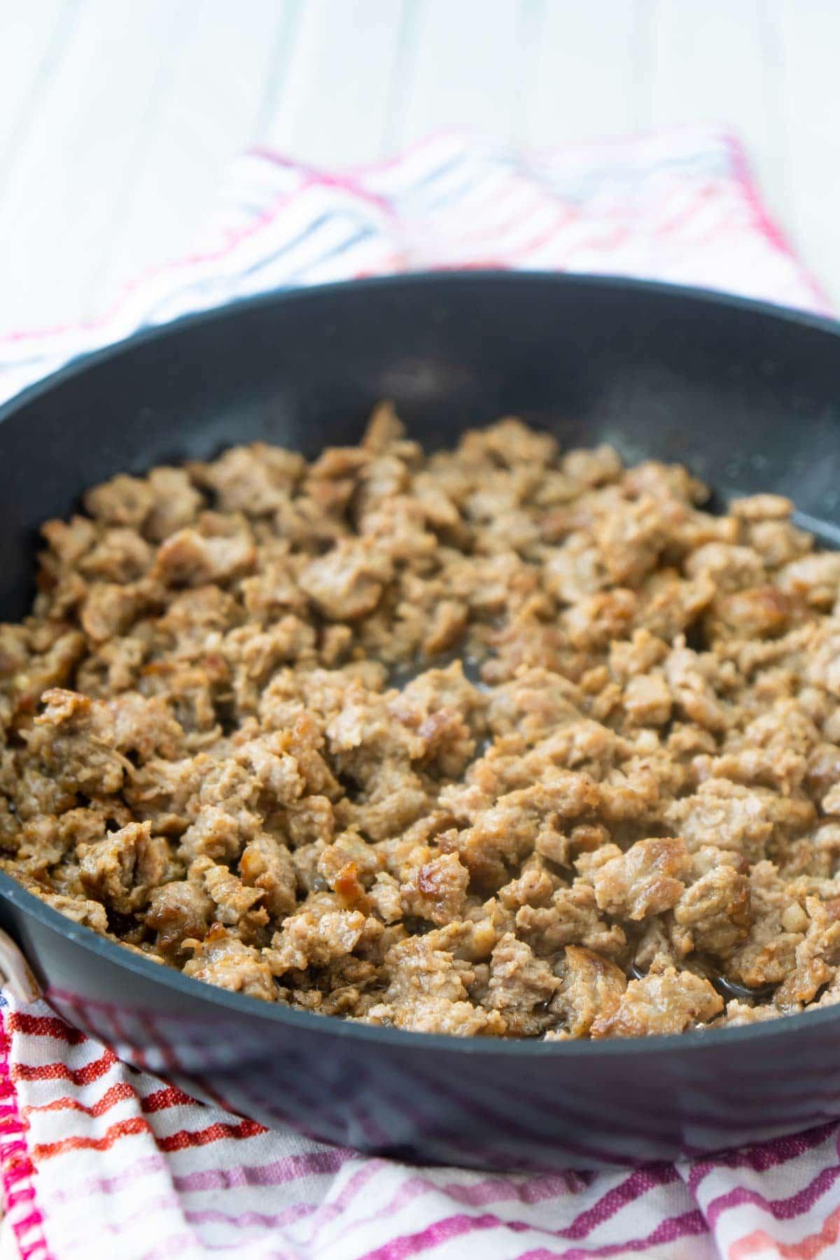 browned breakfast sausage in a pan