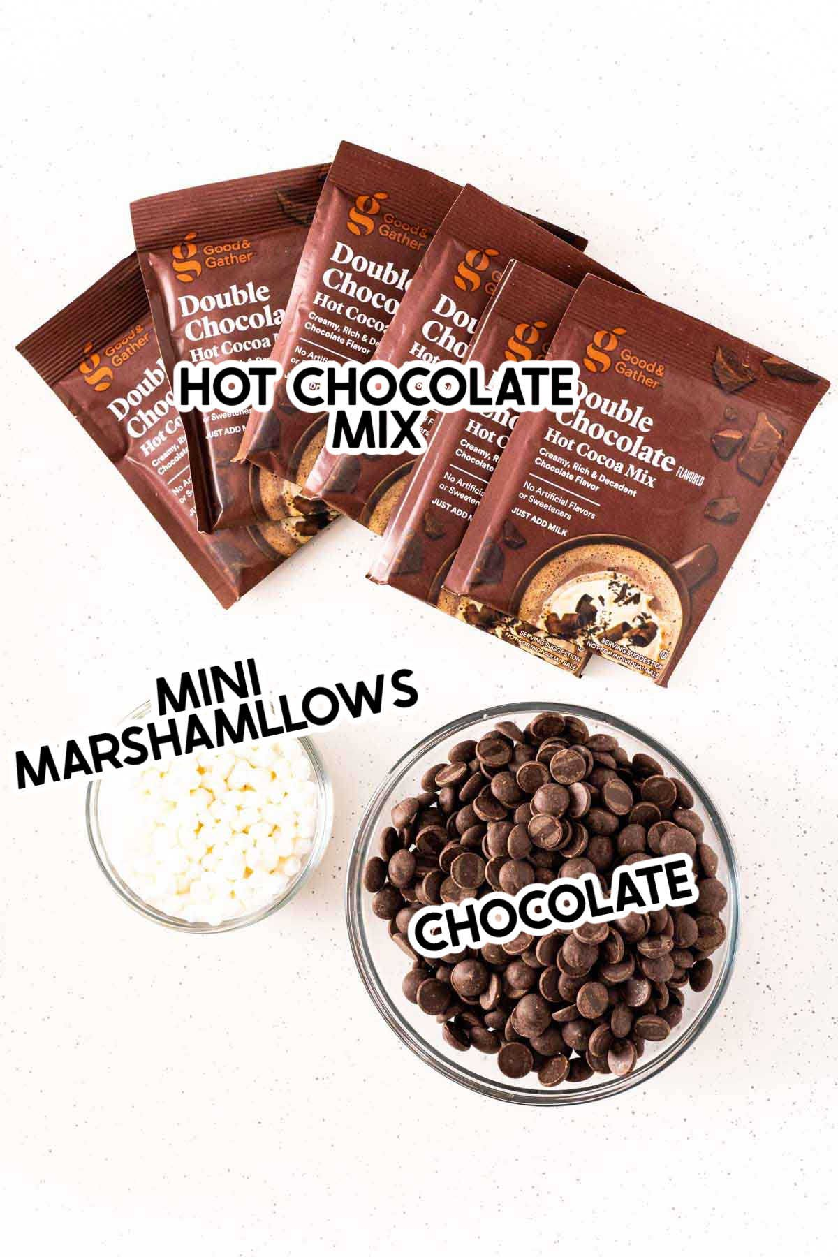 Ingredients for hot chocolate bombs with labels