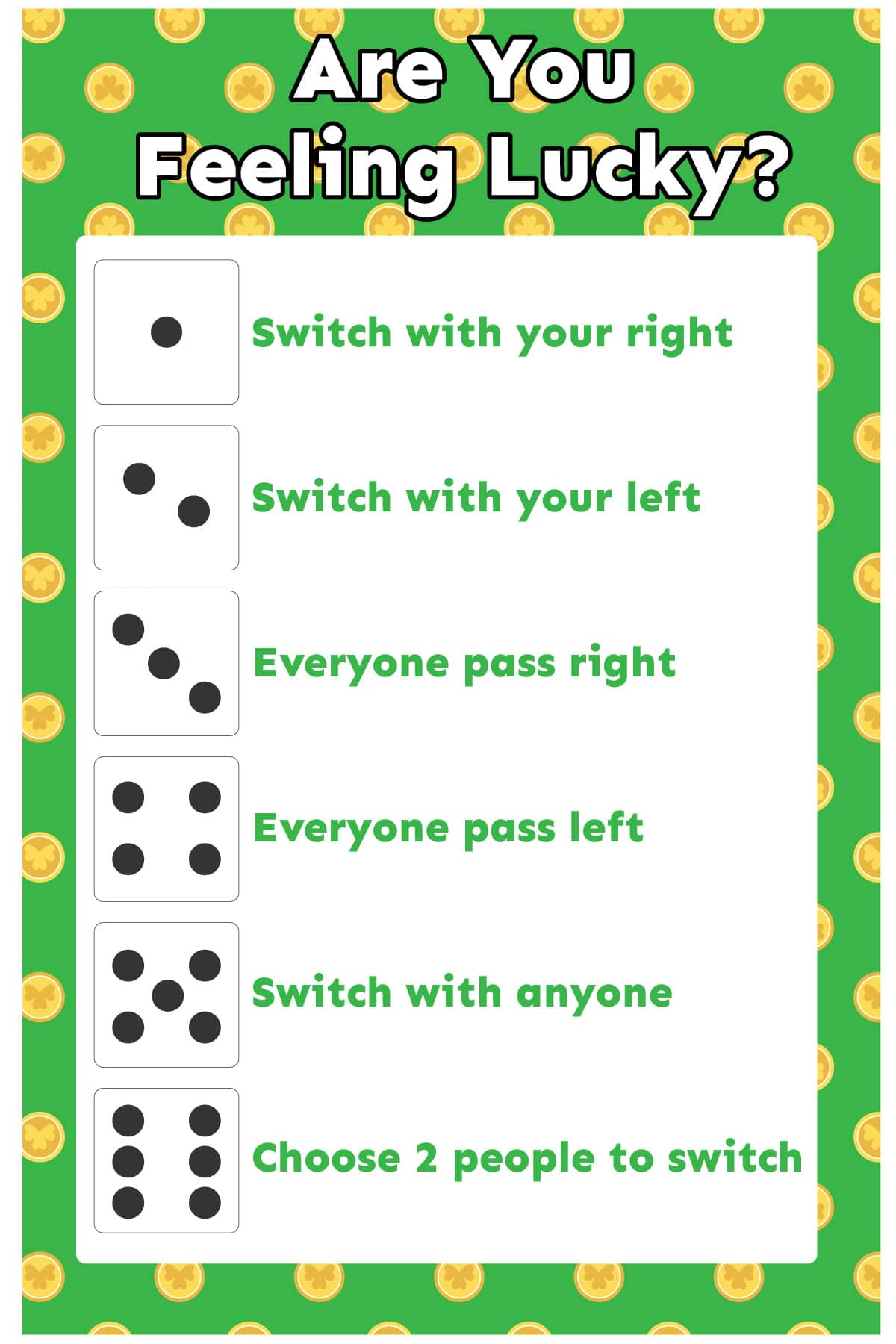 Lucky dice game printout