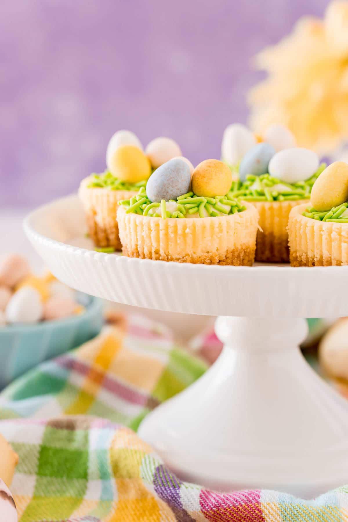 Cake stand full of mini egg cheesecake