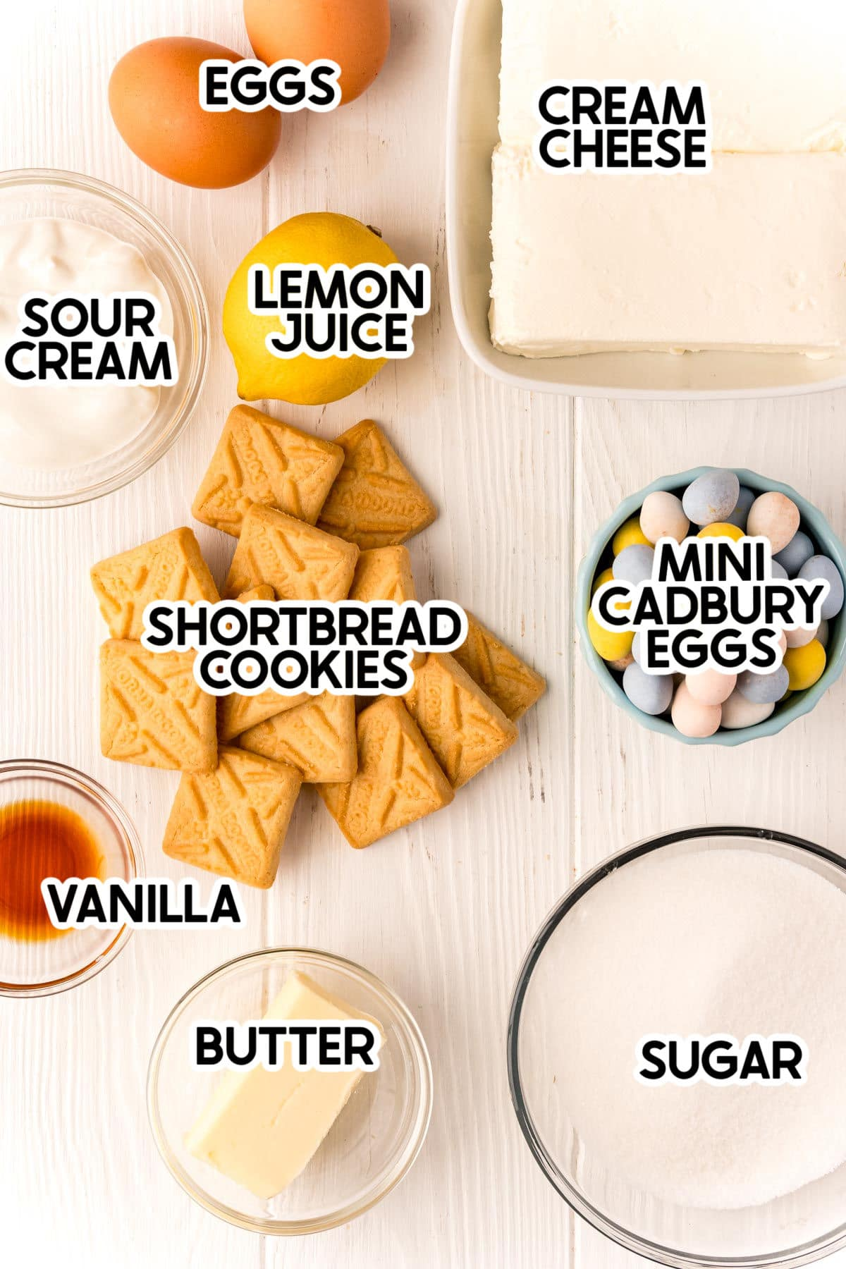 ingredients needed to make mini egg cheesecake with labels
