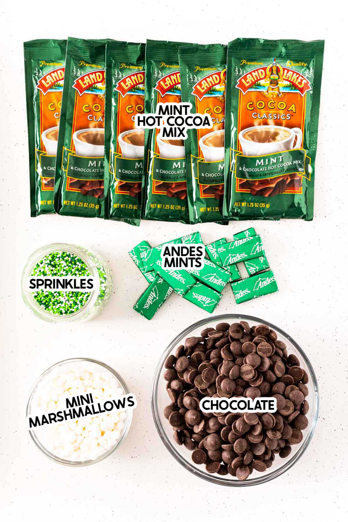 Ingredients needed for mint hot chocolate bombs with labels